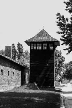 One of the large watch towers of the Auschwitz I camp.