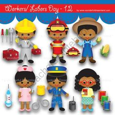 Instant Download Printable Clipart Clip Art Digital PDF PNG File Labor Worker Day Baby Boy Girl 1.2 from Wonderful Dreamland on TeachersNotebook.com -  (19 pages)  - baby boy, baby girl, teacher, farmer, fireman, police woman, nurse, technician, sun kissed skin, tanned skin, African American