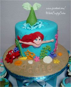 Little Mermaid Birthday Party Cakes and Little Mermaid Birthday Party Cupcakes