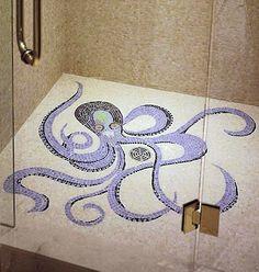 Beach Tile Art. Octopus tile mosaic in shower. Via Beach Bliss Living: http://beachblissliving.com/tile-art/