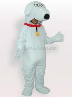 White Dog Short Plush Adult Mascot Costume - all the mascot costumes are global free shipping at http://www.cosplayzentai.com