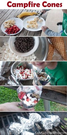 Tailgating dessert! Campfire Cones chop strawberries and bananas mix with mini marshmallows and semi sweet chocolate chips then fill waffle cone completely full and cover with foil then throw them on the grill for a few minutes