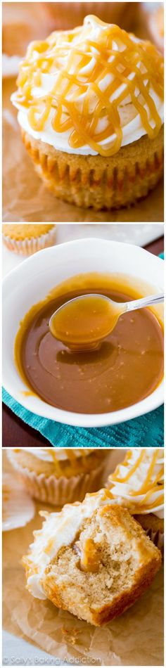 Brown Sugar Butterscotch Cupcakes are my all-time favorite. Filled and topped with homemade butterscotch sauce!