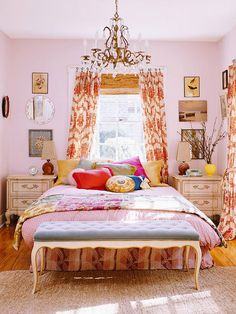 decor, curtains, colors, girl bedrooms, pink, boho, bohemian style, bed skirts, girl rooms