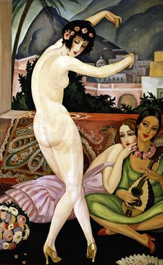 'The Dancer; La Danseuse' - c. 1930 - by Gerda Wegener (Danish, 1885-1940) - Oil on canvas - 123x80cm - This was painted in Marrakesh which the artist visited between 1927-1932. She was part of a small group of artists who believed in sexual Liberation - @~ Mlle