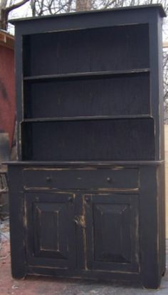 """This Stepback Hutch is a beautiful piece that will make a great addition to your country rustic primitive home decor. The hutch comes with open shelves on the top, one large drawer and double doors on the cupboard on the bottom for storage. Measures approx. 72"""" H x 44"""" W x 16"""" D."""