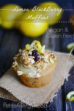 Lemon Blackberry Muffins- Gluten free, Vegan, PetiteAllergyTreats  The best gluten free muffin EVER! #glutenfree, #dairyfree, #eggfree, #lem...