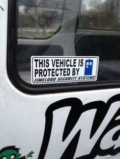 Doctor Who inspired vehicle Time Lord security decal. $6.99, via Etsy.