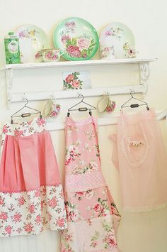 shabby chic aprons ~ adorable hangers
