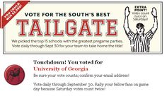 Vote #UniversityOfGeorgia for Southern Living's South's Best Tailgate Contest!