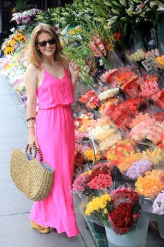 Hot pink maxi dress.