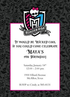 invitations, high parti, birthday idea, monster high, 6th birthday, monsters, high birthday, parti idea, high invit