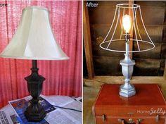 lamps, craft, glam light, diy decor, deconstruct lamp