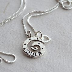 Doula Heart Necklace Sterling Silver. $42.00, via Etsy.