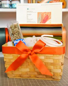 """""""Custom Craft Kit""""  For an affordable gift your crafty someone is guaranteed to love, assemble all the tools, materials, instructions, and templates needed for a particular project into an attractive package."""