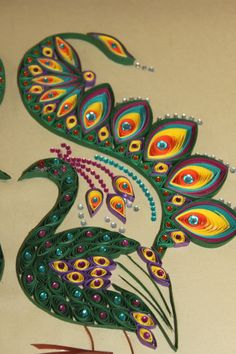 Quilled Dancing Peacocks. $110.00, via Etsy.