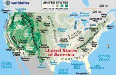 United States of America landforms map