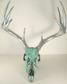 Copper Aged with Green Patina and Chrome Deer Skull Art Sculpture
