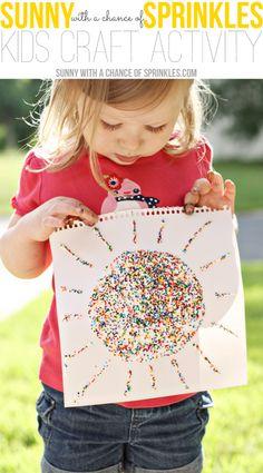 glue + sprinkles craft