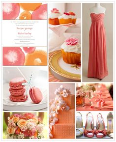 wedding color combination: coral/pink and orange