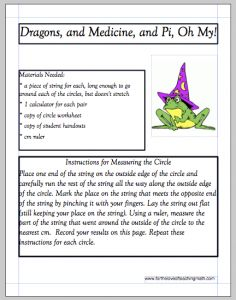 Dragons, and Medicines, and Pi, Oh My!!  from http://www.fortheloveofteachingmath.com/