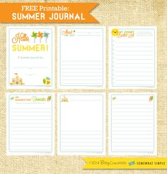 Free printable Summer Journal for school aged children by BitsyCreations for Somewhat Simple