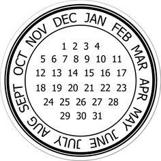 stamp, printable circle labels, scrapbook, printable calendars