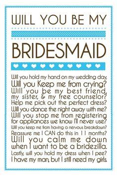 bridesmaid note
