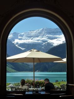 Canada: Looking out from the Fairmont Hotel at Lake Louise, Banff, Alberta.