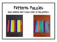 Use popsicle sticks to make patterns.