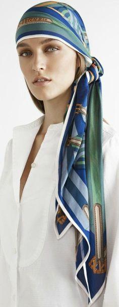 HERMÈS PARIS ~ long scarf or Pareto used as bandanna