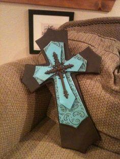 idea, diy cross decoration turquoise, wood cross, handmad layer, layer wood, layered wooden crosses, brown layer, larg turquois, wooden crosses crafts