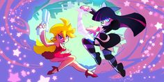 Panty & Stocking with Garterbelt Wiki..  Here's a couple funny episodes: http://youtu.be/g4avFa83C6Q
