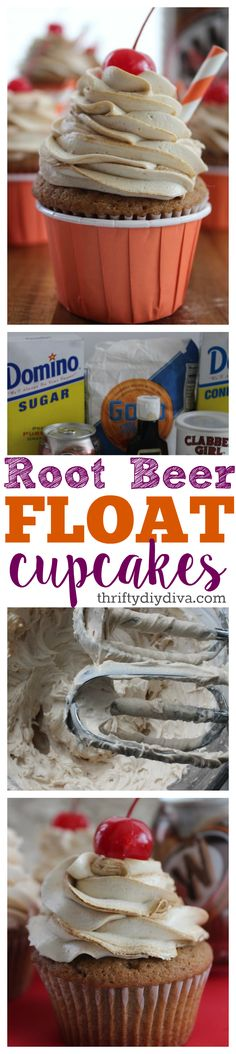 Root Beer Float Cupcakes recipe made with A&W or Mug - fun and easy kid recipe! Add this to your cupcake recipes collection!