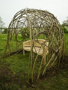 Living Willow Seat Shelter, Dorset by Tim Johnson