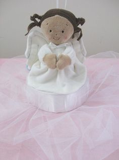 Angel Themed Baptism Balloon Centerpieces by SetToCelebrate, $19.50 - CHOICE OF 3 PRAYING ANGELS - Angel Maria (as shown), Angel Jessie or Angel Sophie. Adorable plush doll a wonderful gift for baby after! Also great for Angel themed Baby Shower!