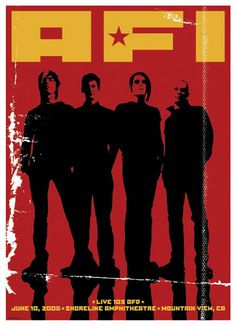 This poster was created by Gregg Gordon / GIGART for the band AFI (A Fire Inside). They played the main stage at the Summer BFD Concert put on by Live 105. The show had over 25 bands, 3 stages, with the entire event having a Propaganda theme. This event took place on June 10, 2006 at Shoreline Amphitheatre in Mountain View, California. This is 1 of 5 posters in a series.  Size: 17 x 22 inch / 2 Color Silk Screen
