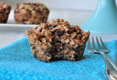 Almond Butter Baked Oatmeal.  Take your oats on the go.  The healthy breakfast that tastes like dessert.  Easy recipe that can be made in under 30 minutes.  Freeze for busy mornings. #vegan #glutenfree #oatmeal #bakedoatmeal #oats #breakfast #cleaneaing