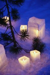 Candles Sitting on Snow by Tree