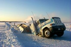 Ice Road Truckers .... rig up, trailer down
