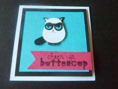 Stampin' Up! Owl Punch Art by Crafty Cow Creations: grumpy cat card owl punch, grumpi cat, grumpy cat punch art, grumpy cats, cat card
