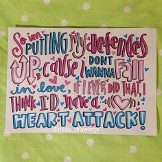 Heart Attack- Demi Lovato lyric art on Etsy, $4.92