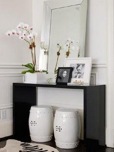 Orchid and the ceramic stools