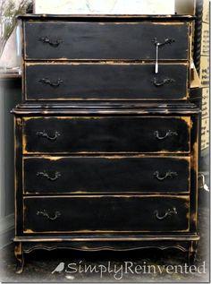 Distressed black Chalk Paint, Chippi, Furnitur Finish, Dresser Idea, Black Board, Paint Furnitur, Creativ Paint, Black Chest, Basic Black
