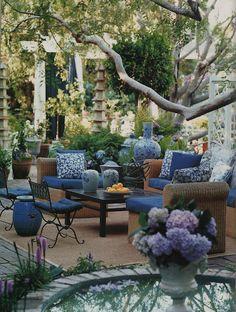 Mary McDonald outdoor seating, patio design, color design, patio idea, outdoor living, blue, backyard, outdoor spaces, garden