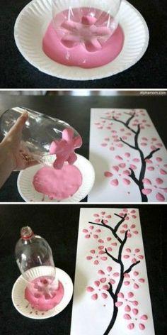 plastic bottles, soda bottles, diy art, diy crafts home, blossom trees, pop bottles, paint, craft ideas, cherry blossoms