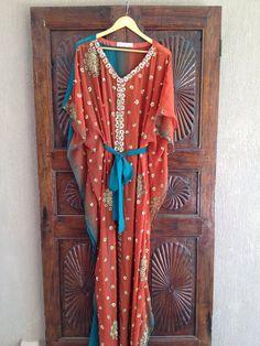I LOVE ETSY Caftan beaded maxi dress