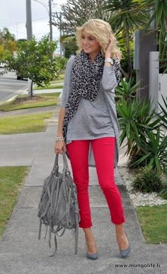 fashion, style, color combos, fall outfit, animal prints, colored denim, leopard, colored jeans, red pants