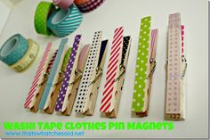 Washi Tape Clothes Pin Magnets