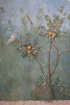 Roman fresco detail with birds and fruit, Villa of Livia